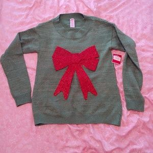NWT Holiday Time green Christmas bow sweater